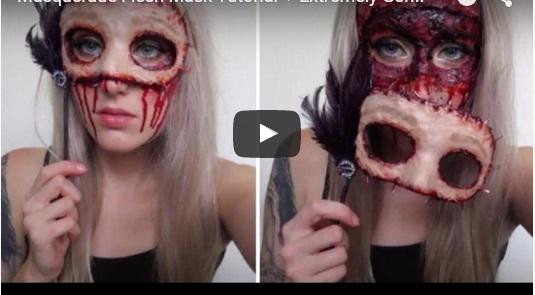Halloween fake flesh mask make up idea for her