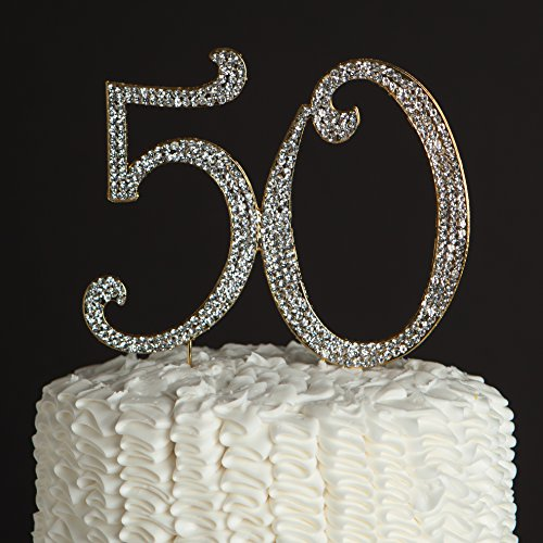 50 Cake Topper For 50th Birthday Or Anniversary Party Supplies And Decoration Ideas Gold