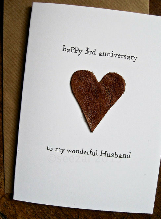 550 750 Leather Gifts For 3rd Wedding Anniversary Card Him